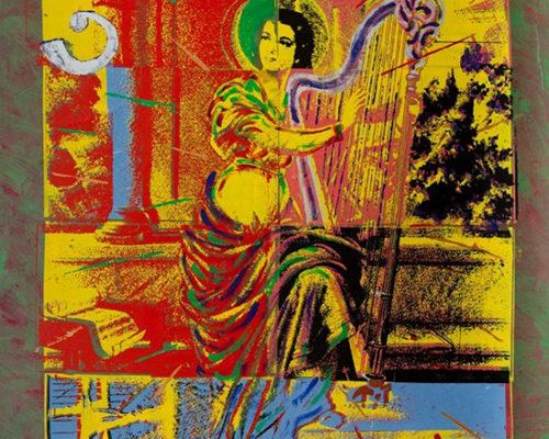 Santa Cecilia tocando harpa num pátio pós-moderno - 1985 -_coleção Chagas Freitas -Brasilia